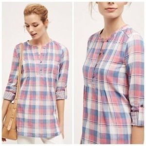 HOLDING HORSES BY ANTHRO Halfpenny Plaid Tunic Top
